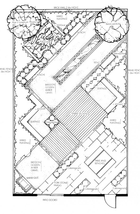 this is a capel manor garden design project the brief was to design a front garden using a forty five degree angle grid as a reference